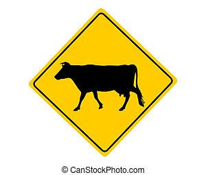 waarschuwend, koe, meldingsbord