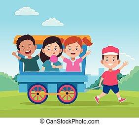 wagen trein, ontwerp, kinderen, vrolijke , spotprent, geitjes, dag