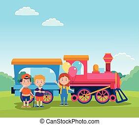 wagen trein, vrolijke , spotprent, geitjes