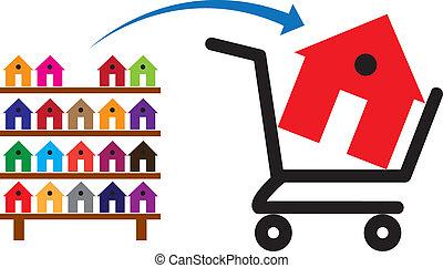 wagentje, bereikbaar, concept, shoppen , kleurrijke, merken huis, symbolisch, informatietechnologie, rek, sale., huisen, aankoop, verblijven, eigendom, of, aankoop