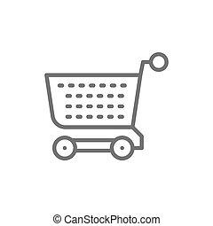 wagentje, shoppen , vrijstaand, icon., achtergrond, kar, wit lijnen