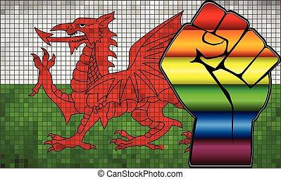wales vlag, glanzend, lgbt, fist, protest