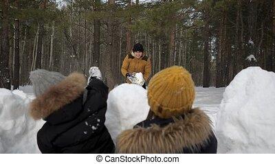 wall., vrouw, man, het verbergen, spelend, voor, sneeuwballen, zoon, gezin, sneeuw, zijn, weinig; niet zo(veel)