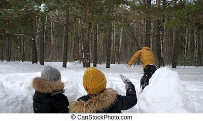 wall., vrouw, zijn, voor, man, weinig; niet zo(veel), sneeuw, sneeuwballen, spelend, gezin, het verbergen, zoon