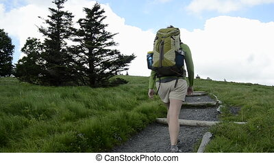 wandelaar, hoek, draaien, bergopwaarts