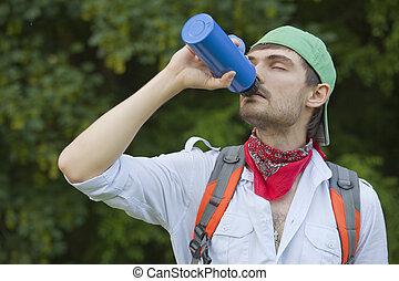 wandelaar, water, drinkt