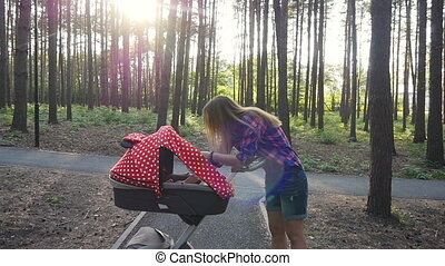 wandelende, baby buggy, moeder, park