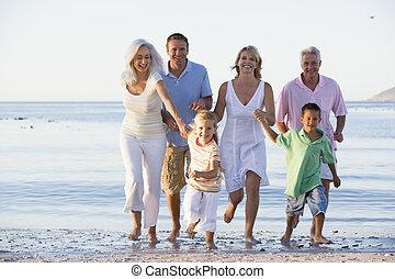 wandelende, breidde uit, strand, gezin