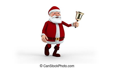 wandelende, claus, kerstman, klok
