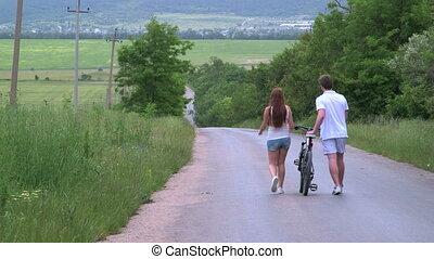wandelende, fiets, land, paar, jonge, dons, straat