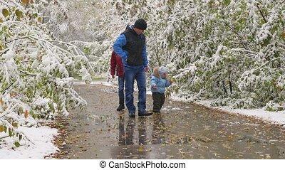 wandelende, gezin, besneeuwd, park, steegje, herfst