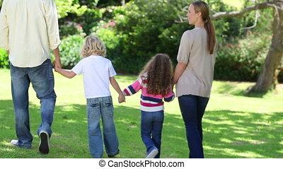 wandelende, hand, gezin