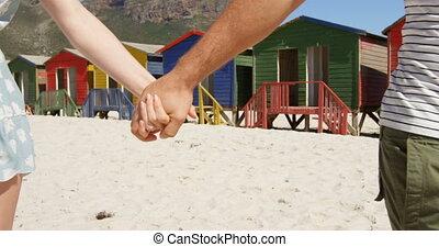 wandelende, hand, paar, strand, 4k