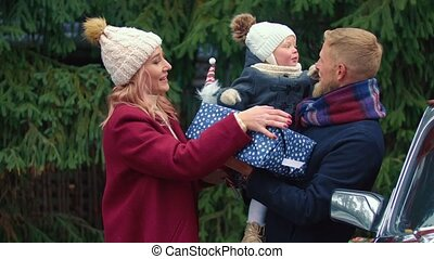 wandelende, jonge, park, gezin