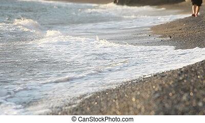 wandelende, la, strand, mensen