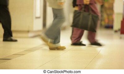 wandelende, metro, zaal