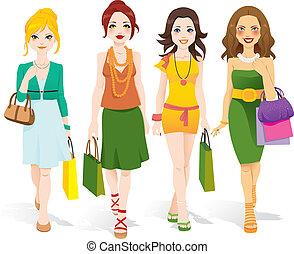 wandelende, mode, meiden