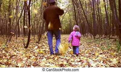 wandelende, park, vader, weinig; niet zo(veel), herfst, meisje