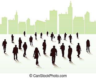 wandelende, silhouettes, mensen