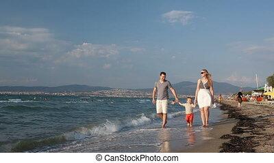 wandelende, strand, jonge familie