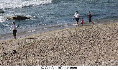 wandelende, strand, langs, gezin