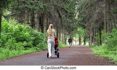 wandelende, vrouw, park, jonge, wandelaar