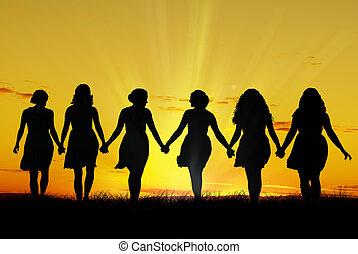 wandelende, vrouwen, hand