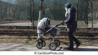 wandelende, wandelaar, jonge, moeder