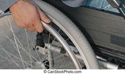 wandeling, wiel, park, gedurende, hand, wheelchair