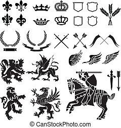 wapenkunde, ornament, set