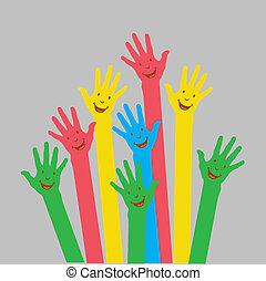 warm up, kleurrijke, handen