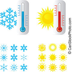 warme, thermometer, koude, temperatuur