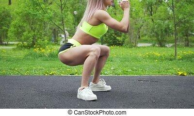 warmup, benen, levensstijl, voor, gezonde , fitness, workout, vrouw