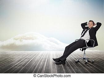 wartel, het glimlachen, stoel, zakenman, zittende