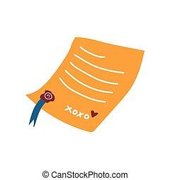 was, illustratie, vector, retro, brief, zeehondje, rood