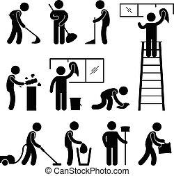 wassen, schoonmaken, stofzuiger, arbeider