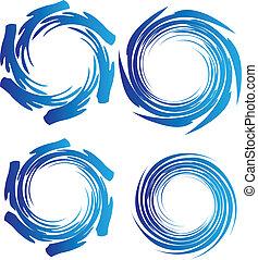 water, aarde, golven, logo, cirkel