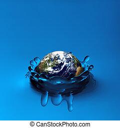 water, aarde, het vallen