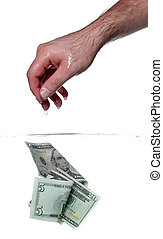 water, bankpapier, dollar, hand