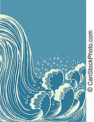 water, blauwe , waterfall., achtergrond, golven, vector