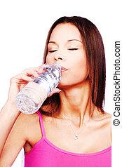 water, drinkt, vrouw, fles