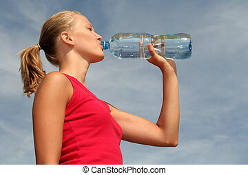 water, drinkt, vrouw