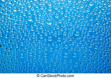 water, droplets, blauwe , achtergrond.
