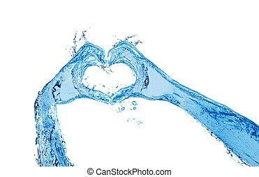 water, gebaar, handen, gemaakt, liefde, vloeistof, tonen, hart