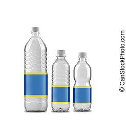 water, gebotteld, 5, vrijstaand, groottes