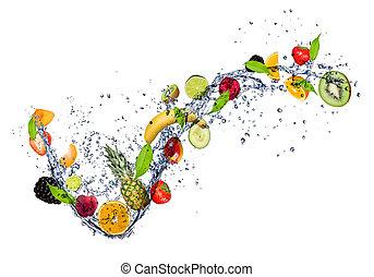 water, gespetter, malen, vermalen, fruit, achtergrond, vrijstaand, witte