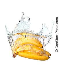 water, gespetter, vrijstaand, bos, bananen, witte