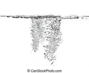 water, groot, hoeveelheid, bellen, lucht