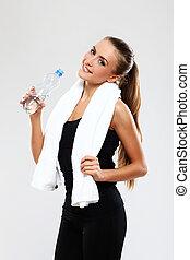 water, het glimlachen, baddoek, meisje, fles