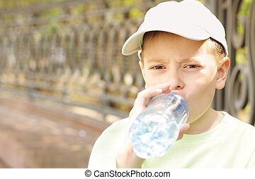 water, jongen, drinkende fles